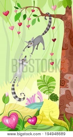vector illustration with a cute funny jungle animals