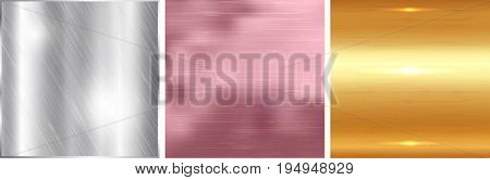 Gold silver and rose gold gradient square background. Metallic texture. Vector illustration.