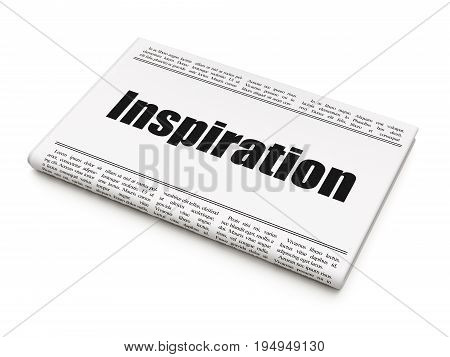 Advertising concept: newspaper headline Inspiration on White background, 3D rendering