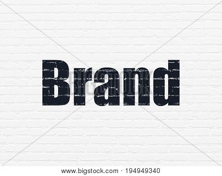 Marketing concept: Painted black text Brand on White Brick wall background