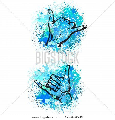Shaka hand sign. Hang loose surfers gesture on the background of colorful splash