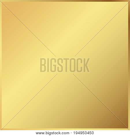 Gold background in frame. Light realistic metallic golden gradient template. metal decoration. Vector Illustration