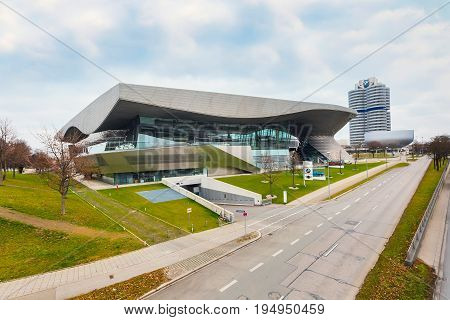 Munich, Germany - December 28, 2016: BMW museum building and street view