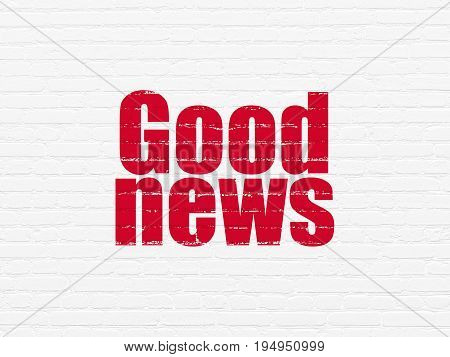 News concept: Painted red text Good News on White Brick wall background