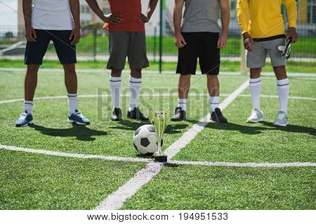 Partial View Of Soccer Team Standing On Pitch With Goblet And Ball On Foreground