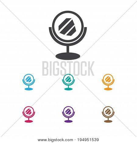 Vector Illustration Of Hairstylist Symbol On Looking-Glass Icon. Premium Quality Isolated Peeper   Element In Trendy Flat Style.