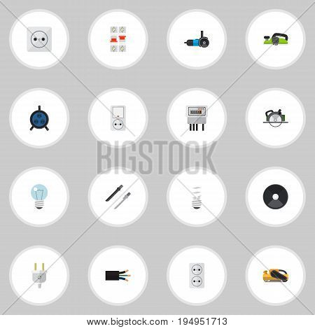Set Of 16 Editable Electrical Icons. Includes Symbols Such As Jack, Electric, Bulb And More. Can Be Used For Web, Mobile, UI And Infographic Design.