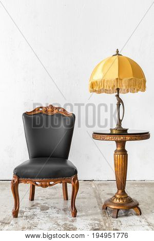Black genuine leather classical style chair with lamp