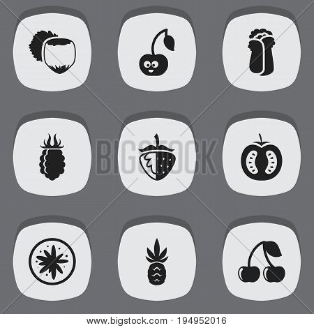 Set Of 9 Editable Kitchenware Icons. Includes Symbols Such As Exotic Dessert, Ananas, Berry And More. Can Be Used For Web, Mobile, UI And Infographic Design.
