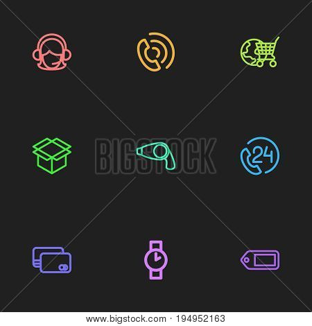 Set Of 9 Editable Trade Icons. Includes Symbols Such As Globe Cart, Tag, Wristwatch And More. Can Be Used For Web, Mobile, UI And Infographic Design.