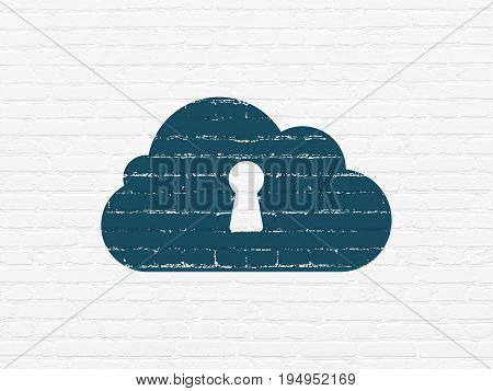 Cloud computing concept: Painted blue Cloud With Keyhole icon on White Brick wall background