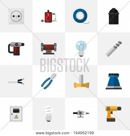 Set Of 16 Editable Electric Icons. Includes Symbols Such As Blowpipe, Rosette, Holder And More. Can Be Used For Web, Mobile, UI And Infographic Design.