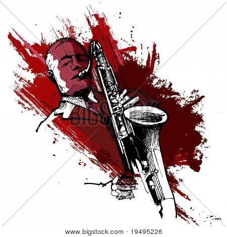 Vector illustration of a saxophonist on a grunge background