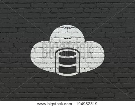 Cloud technology concept: Painted white Database With Cloud icon on Black Brick wall background