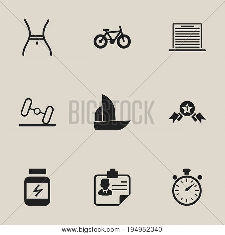 Set Of 9 Editable Complicated Icons. Includes Symbols Such As Bicycle, Award, Belly And More. Can Be Used For Web, Mobile, UI And Infographic Design.