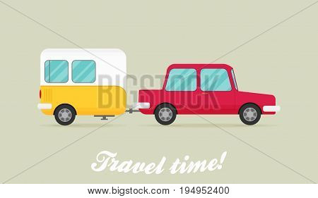 Flat icon vector for design. Car Pulling Trailer