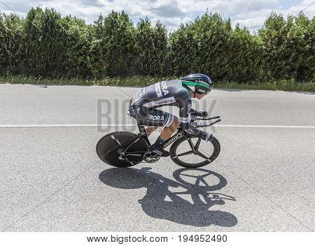 Bourgoin-Jallieu France - 07 May 2017: The German cyclist Pascal Ackermann of Bora-Hansgrohe Team riding during the time trial stage 4 of Criterium du Dauphine 2017.
