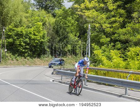 Bourgoin-Jallieu France - 07 May 2017: The Italian cyclist Jacopo Guarnieri of FDJ Team riding during the time trial stage 4 of Criterium du Dauphine 2017.