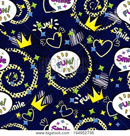 Abstract Seamless Pattern For Girls,boys, Clothes. Creative Vector Background With Pop Art Comics Sp