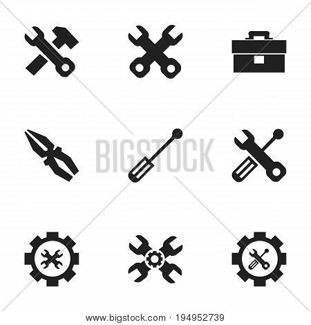 Set Of 9 Editable Mechanic Icons. Includes Symbols Such As Screwdriver, Options, Fix Tool And More. Can Be Used For Web, Mobile, UI And Infographic Design.