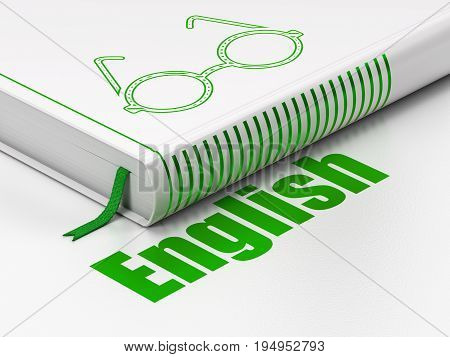 Education concept: closed book with Green Glasses icon and text English on floor, white background, 3D rendering