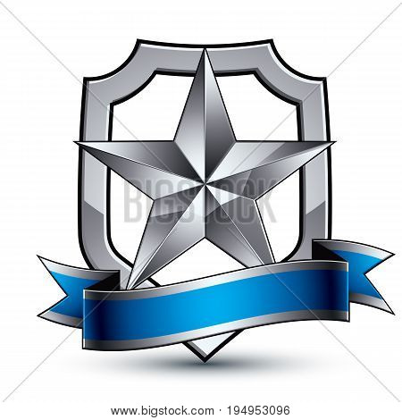 Renown vector silver star with wavy ribbon placed on a protection shield 3d sophisticated pentagonal design element clear EPS 8 emblem.