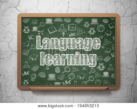 Studying concept: Chalk White text Language Learning on School board background with  Hand Drawn Education Icons, 3D Rendering