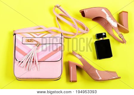 Handbag And Female Footwear With Bottle Of Scent