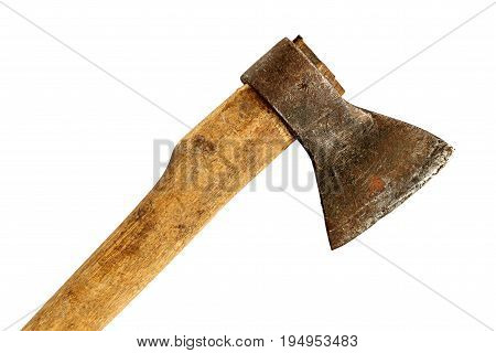 Old ax with a wooden handle close-up isolated on a white background
