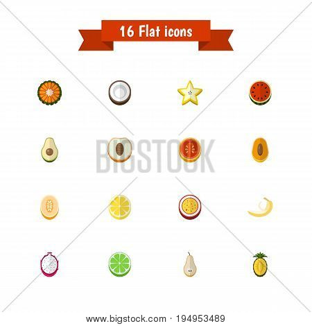 Set Of 16 Editable Fruits Icons. Includes Symbols Such As Cocos, Papaya, Watermelon And More. Can Be Used For Web, Mobile, UI And Infographic Design.
