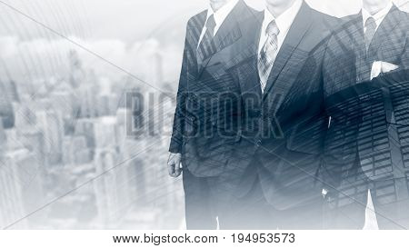 Three businessmen in suits. Business concept leader. Man power. Double exposure.