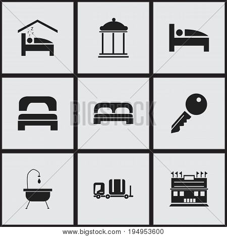 Set Of 9 Editable Travel Icons. Includes Symbols Such As Sleeping, Residence, Unblock Access And More. Can Be Used For Web, Mobile, UI And Infographic Design.
