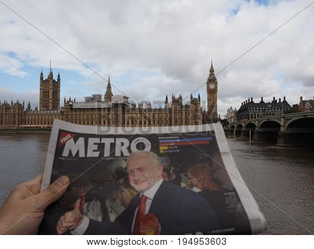 Newspaper Showing Jeremy Corbyn In London