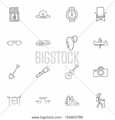 Set Of 16 Editable Trip Icons. Includes Symbols Such As Flashlight, Flammable Stick, Wrist Clock And More. Can Be Used For Web, Mobile, UI And Infographic Design.