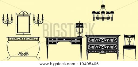 Vector illustration of original antique furniture collection style
