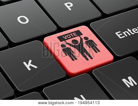 Politics concept: computer keyboard with Election Campaign icon on enter button background, 3D rendering