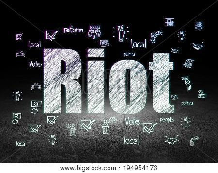 Political concept: Glowing text Riot,  Hand Drawn Politics Icons in grunge dark room with Dirty Floor, black background