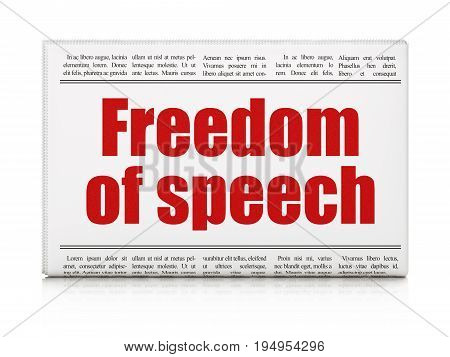 Politics concept: newspaper headline Freedom Of Speech on White background, 3D rendering