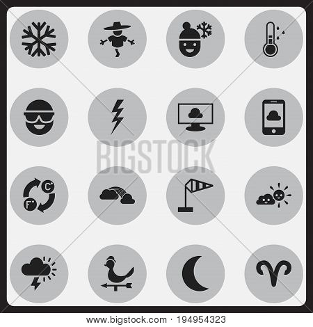 Set Of 16 Editable Weather Icons. Includes Symbols Such As Thunderstroke, Breeze Vane, Frostbite And More. Can Be Used For Web, Mobile, UI And Infographic Design.