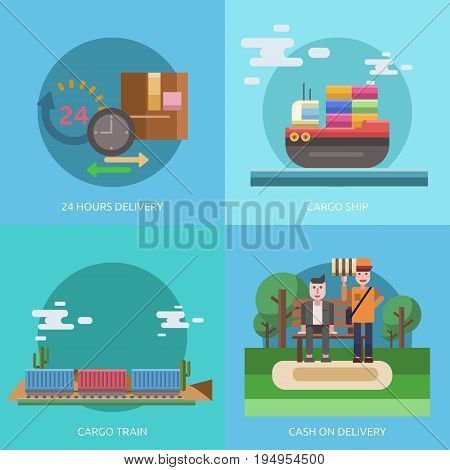 Cargo and Delivery Conceptual Design | Set of great flat design illustration concepts for cargo, delivery, industry, transport and much more.