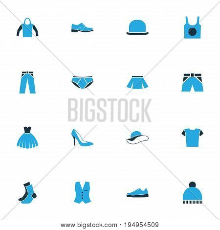 Garment Colorful Icons Set. Collection Of Trousers, Elegant Headgear, Sneakers And Other Elements. Also Includes Symbols Such As Trousers, Panties, Mini.