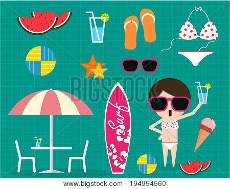 Summer Time Item Collection Sunglass Bikini Ice Cream Sandal Water Melon Volleyball