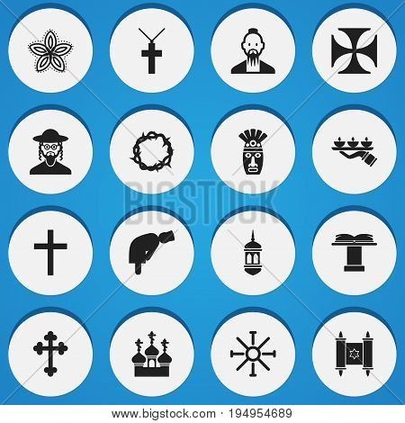 Set Of 16 Editable Dyne Icons. Includes Symbols Such As Mullah, Minaret, Crucifix And More. Can Be Used For Web, Mobile, UI And Infographic Design.