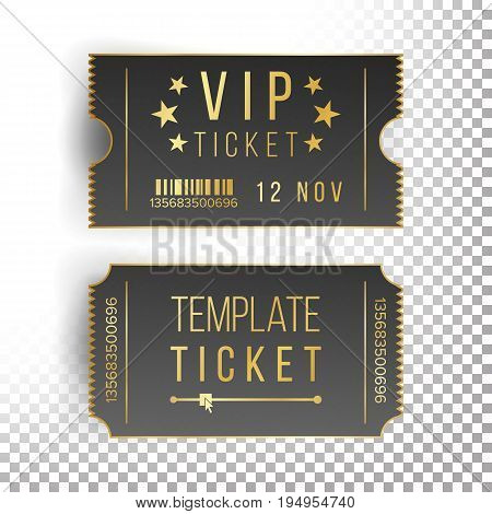 Vip Ticket Template Vector. Empty Black Tickets And Coupons Blank. Theater, Cinema Tickets Coupons. Isolated Illustration.