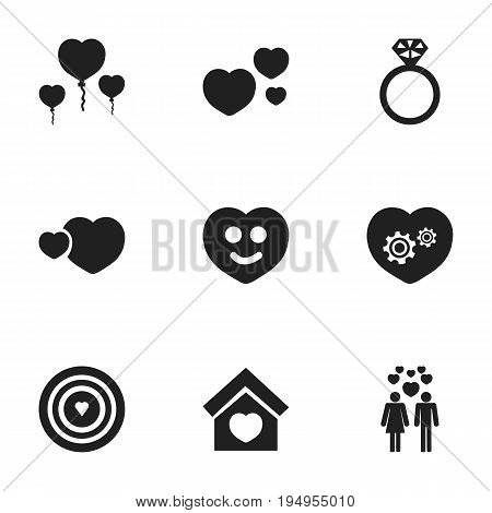 Set Of 9 Editable Love Icons. Includes Symbols Such As Building, Darling, Aim And More. Can Be Used For Web, Mobile, UI And Infographic Design.