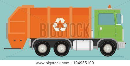 Orange garbage truck transportation. Flat vector icon vector for design