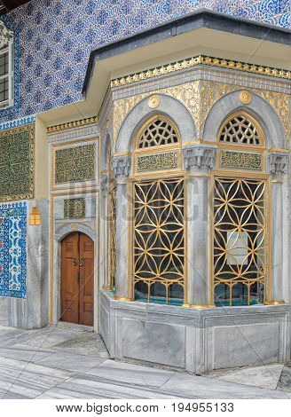 Exterior view of the shrine of Hazrat Abu Ayub Ansari Eyup Sultan Mosque, Istanbul, Turkey