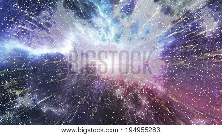 Abstract Planet Explosion On A Beautiful Nebula.