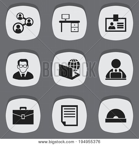 Set Of 9 Editable Bureau Icons. Includes Symbols Such As Professor, Portfolio, Workman In Laptop And More. Can Be Used For Web, Mobile, UI And Infographic Design.