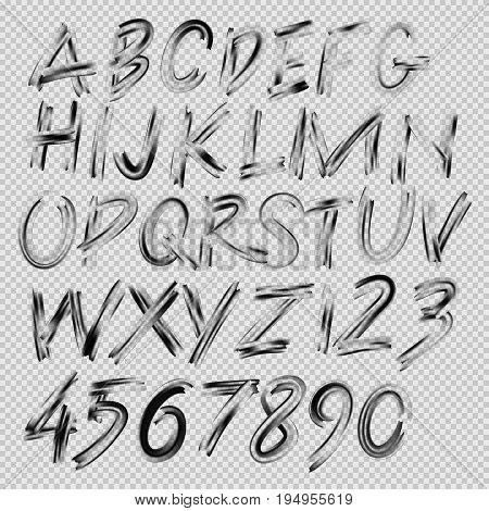 Handwritten brush font, letters and numbers, vector illustration.